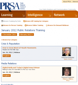 PRSA Calendar of Events By Date