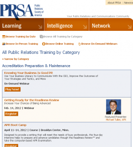 PRSA Calendar of Events