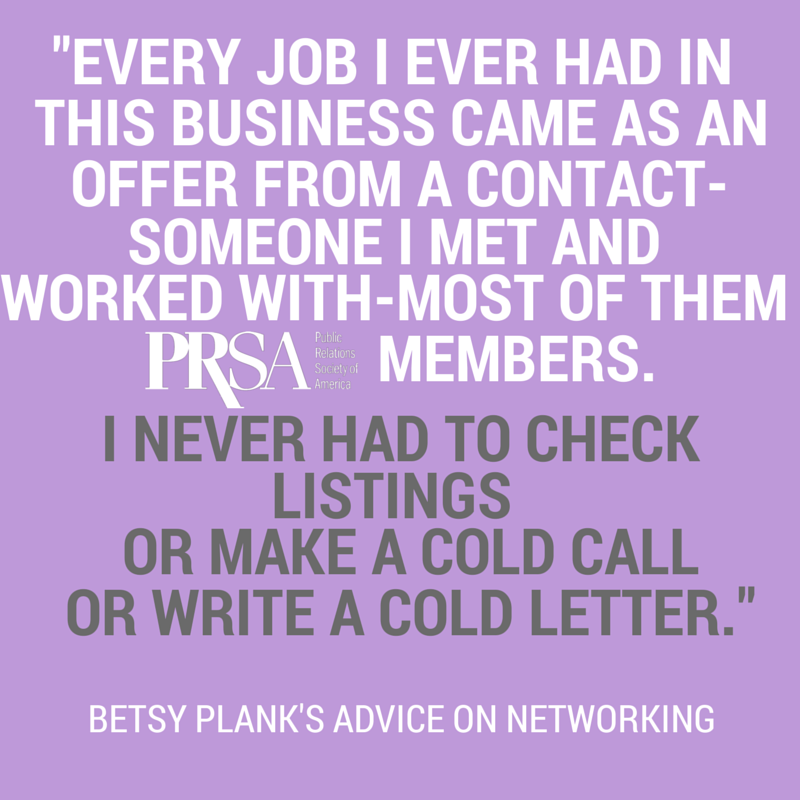 Betsy Plank's advice on networking with PRSA