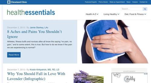 Cleveland Clinic Website Screenshot