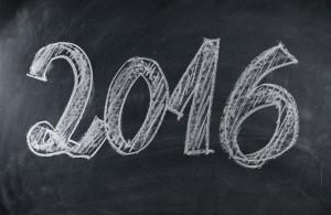 Photo of 2016 written on a blackboard.